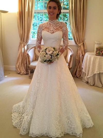 Beautiful Sweep Train Ball-Gown Wedding Dresses High Neck Lace Long Sleeves (002144814)