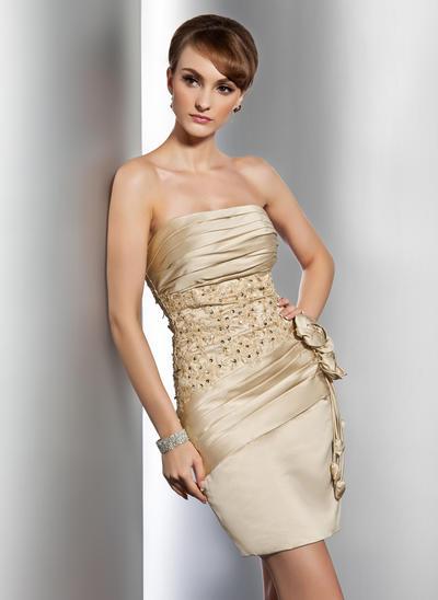 Sheath/Column Strapless Satin Sleeveless Short/Mini Ruffle Beading Appliques Lace Flower(s) Cocktail Dresses (016014733)