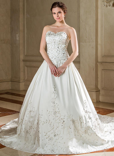 Simple Cathedral Train Ball-Gown Wedding Dresses Sweetheart Satin Sleeveless (002196836)