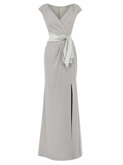 Empire V-neck Stretch Crepe Short Sleeves Floor-Length Split Front Mother of the Bride Dresses (008146317)