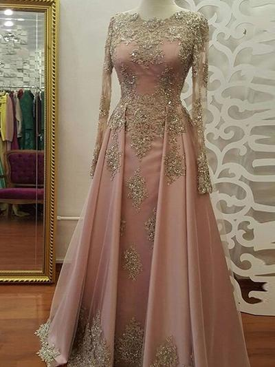 Tulle Long Sleeves A-Line/Princess Prom Dresses Scoop Neck Appliques Lace Floor-Length (018218464)
