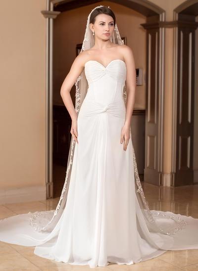 Cathedral Bridal Veils Tulle One-tier Drop Veil/Mantilla With Lace Applique Edge Wedding Veils (006151011)