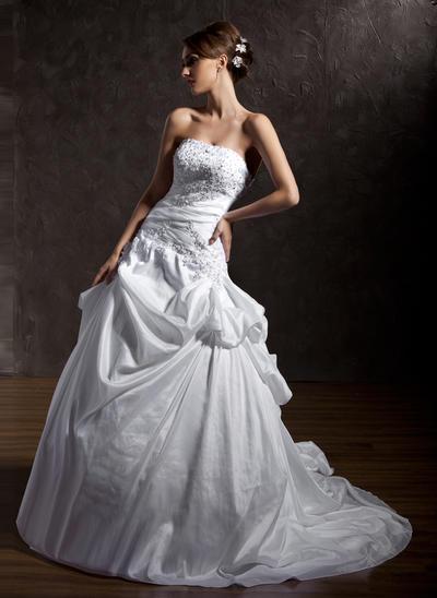 Fashion Chapel Train Ball-Gown Wedding Dresses Strapless Taffeta Sleeveless (002196838)