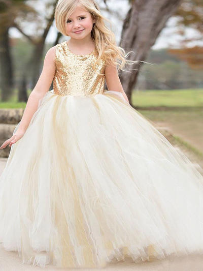 Beautiful Floor-length Ball Gown Flower Girl Dresses Scoop Neck Tulle/Sequined Sleeveless (010145243)