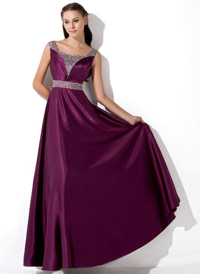 A-Line/Princess Charmeuse Sleeveless Floor-Length Ruffle Sequins Evening Dresses (017013101)