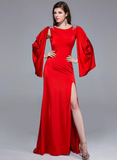 Jersey Long Sleeves A-Line/Princess Prom Dresses Scoop Neck Beading Split Front Sweep Train (018025508)
