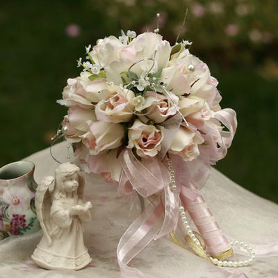 """Bridal Bouquets Round Wedding/Party Satin 9.84""""(Approx.25cm) Wedding Flowers (123188430)"""