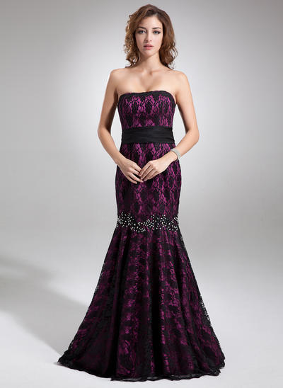 Trumpet/Mermaid Strapless Charmeuse Lace Sleeveless Sweep Train Beading Bow(s) Evening Dresses (017016745)