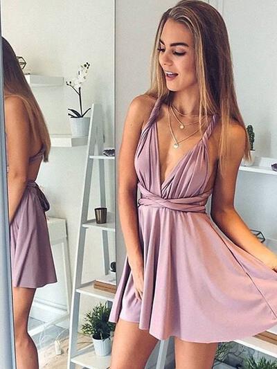 A-Line/Princess V-neck Silk Like Satin Sleeveless Short/Mini Ruffle Homecoming Dresses (022212390)