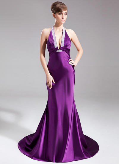 Trumpet/Mermaid Halter Charmeuse Sleeveless Court Train Ruffle Beading Evening Dresses (017020662)