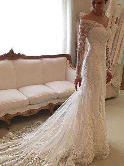 Sexy Court Train Sheath/Column Wedding Dresses Off-The-Shoulder Lace Long Sleeves (002210830)