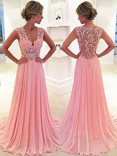 Chiffon Sleeveless A-Line/Princess Prom Dresses V-neck Lace Sweep Train (018145851)
