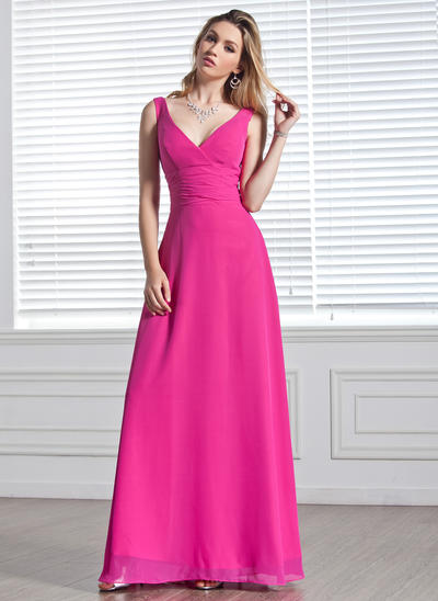 Chiffon Sleeveless A-Line/Princess Bridesmaid Dresses V-neck Ruffle Floor-Length (007001819)