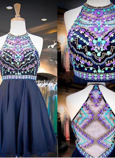 A-Line/Princess Scoop Neck Chiffon Sleeveless Short/Mini Beading Homecoming Dresses (022212384)