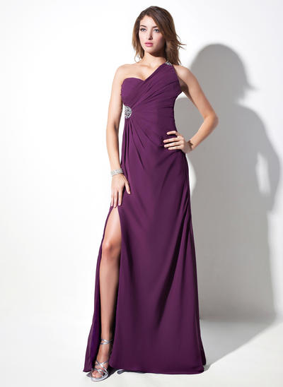 Sheath/Column One-Shoulder Chiffon Sleeveless Sweep Train Ruffle Beading Split Front Evening Dresses (017016057)