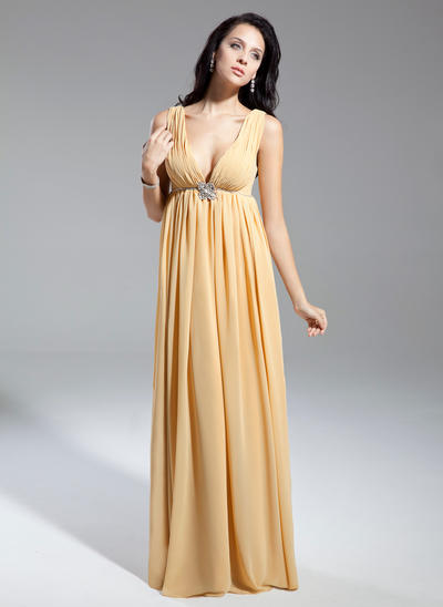 Empire V-neck Chiffon Sleeveless Floor-Length Ruffle Beading Mother of the Bride Dresses (008211369)