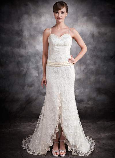 Newest Asymmetrical Trumpet/Mermaid Wedding Dresses Sweetheart Lace Sleeveless (002210507)