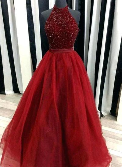 Tulle Sleeveless Ball-Gown Prom Dresses High Neck Beading Floor-Length (018210193)