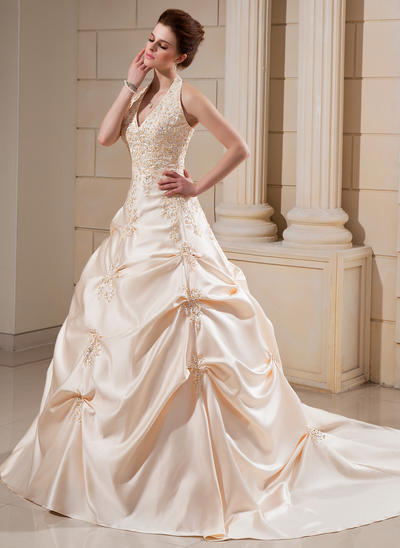 Sexy Cathedral Train Ball-Gown Wedding Dresses Halter Satin Sleeveless (002000678)