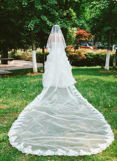 Cathedral Bridal Veils Tulle One-tier Classic/Drop Veil With Lace Applique Edge Wedding Veils (006151862)