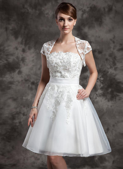 Magnificent Knee-Length A-Line/Princess Wedding Dresses Strapless Organza Sleeveless (002211095)