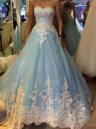 Tulle Sleeveless Ball-Gown Prom Dresses Sweetheart Appliques Floor-Length (018218124)
