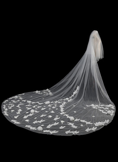 Cathedral Bridal Veils Tulle/Lace Two-tier Oval With Lace Applique Edge Wedding Veils (006152264)