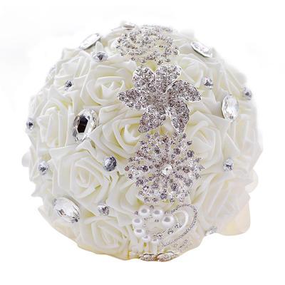 "Bridal Bouquets/Bridesmaid Bouquets Round Wedding Satin/PE/Rhinestone 10.24""(Approx.26cm) Wedding Flowers (123189183)"