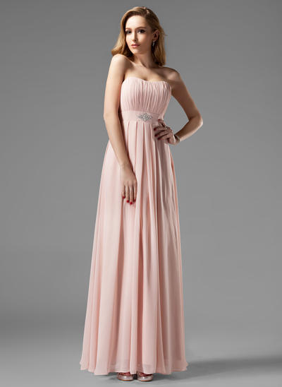 Chiffon Sleeveless A-Line/Princess Bridesmaid Dresses Sweetheart Ruffle Beading Floor-Length (007004093)