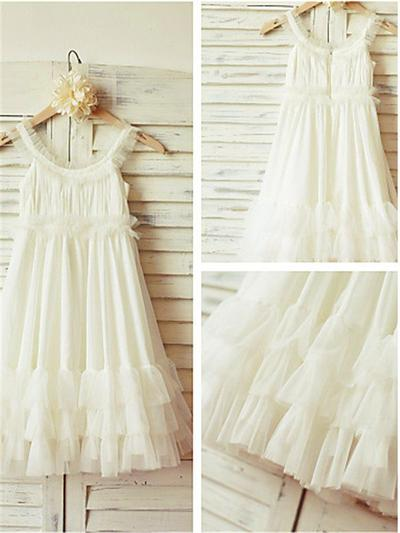 Princess Tea-length A-Line/Princess Flower Girl Dresses Scoop Neck Chiffon Sleeveless (010211935)