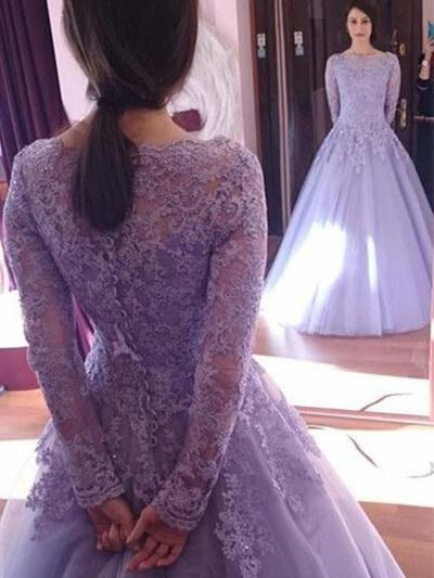 Long Sleeves Ball-Gown Prom Dresses Scoop Neck Lace Floor-Length (018217939)