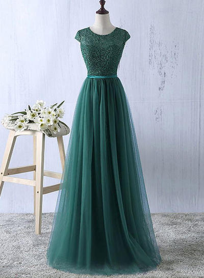 Tulle Sleeveless A-Line/Princess Prom Dresses Scoop Neck Sash Floor-Length (018218318)