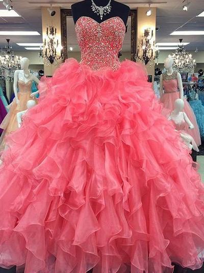 Organza Sleeveless Ball-Gown Prom Dresses Sweetheart Beading Floor-Length (018210383)