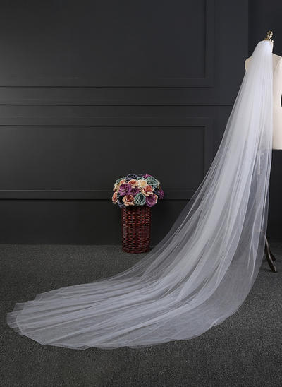Cathedral Bridal Veils Tulle Two-tier Oval With Cut Edge Wedding Veils (006152166)