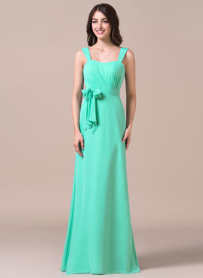 Chiffon Sleeveless Sheath/Column Bridesmaid Dresses Sweetheart Ruffle Bow(s) Floor-Length (007198794)