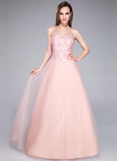 Tulle Sleeveless Ball-Gown Prom Dresses Sweetheart Beading Sequins Floor-Length (018042743)