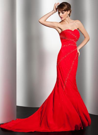 Trumpet/Mermaid Sweetheart Chiffon Sleeveless Sweep Train Beading Evening Dresses (017014550)