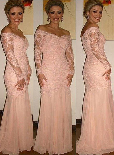 Trumpet/Mermaid Off-the-Shoulder Chiffon Lace Long Sleeves Sweep Train Mother of the Bride Dresses (008146302)