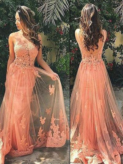 Tulle Sleeveless A-Line/Princess Prom Dresses Scoop Neck Appliques Lace Sweep Train (018145878)