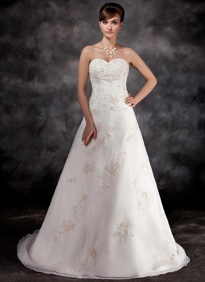 2019 New Court Train A-Line/Princess Wedding Dresses Sweetheart Organza Sleeveless (002196896)