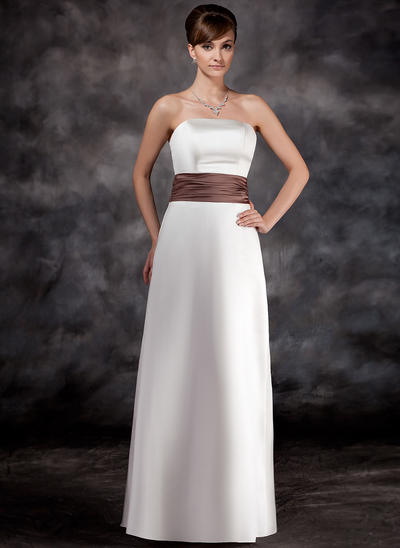 Satin Sleeveless A-Line/Princess Bridesmaid Dresses Strapless Ruffle Sash Floor-Length (007001774)