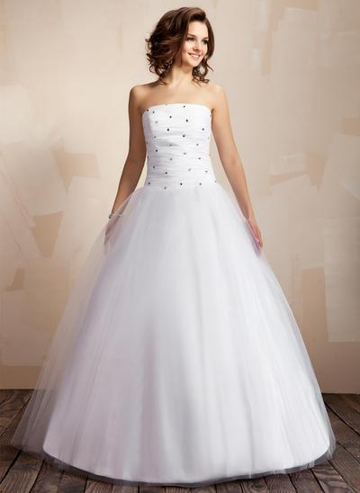 Delicate Floor-Length Ball-Gown Wedding Dresses Strapless Taffeta Tulle Sleeveless (002000041)