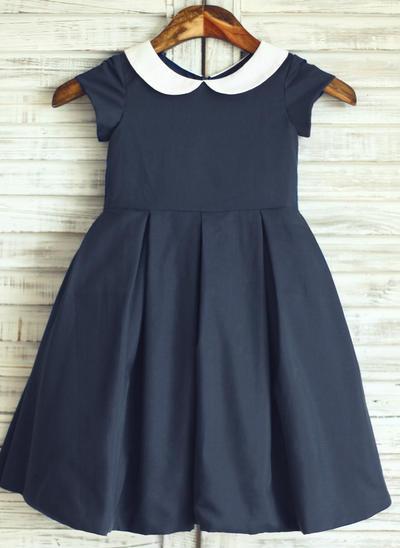 Princess Knee-length A-Line/Princess Flower Girl Dresses Peter Pan Collar Cotton Short Sleeves (010196728)