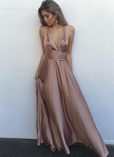 A-Line/Princess V-neck Charmeuse Sleeveless Floor-Length Evening Dresses (017196716)
