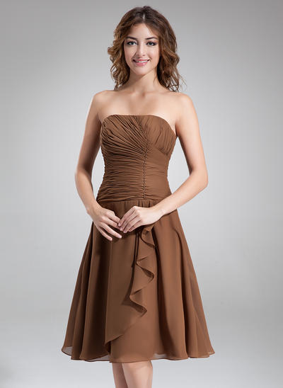 Chiffon Sleeveless A-Line/Princess Bridesmaid Dresses Strapless Beading Cascading Ruffles Knee-Length (007001084)