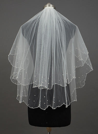 Fingerspitze Braut Schleier Tüll Zweischichtig Klassische Art mit Rand mit Perlen/Wellenkante Brautschleier (006151199)