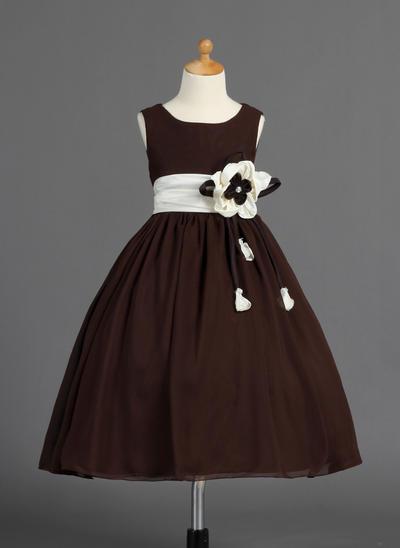 Glamorous Tea-length Ball Gown Flower Girl Dresses Scoop Neck Chiffon/Charmeuse Sleeveless (010014593)