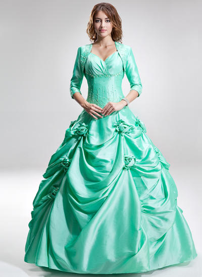 Taffeta Sleeveless Ball-Gown Prom Dresses Sweetheart Ruffle Beading Flower(s) Floor-Length (018135410)