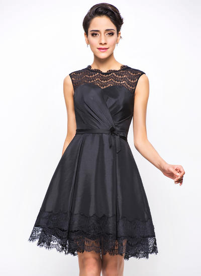 A-Line/Princess Scoop Neck Taffeta Sleeveless Short/Mini Ruffle Bow(s) Cocktail Dresses (016055947)