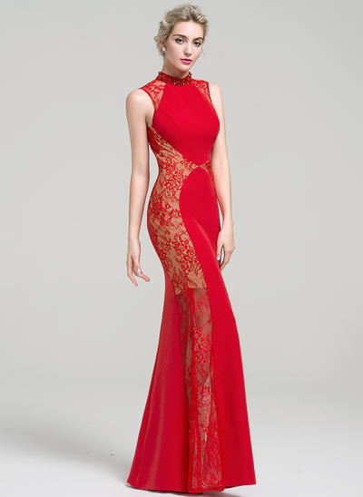 Trumpet/Mermaid High Neck Floor-Length Satin Lace Prom Dresses With Beading Sequins (018112881)